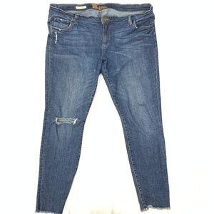 Asher Ankle Straight Leg Distressed Jeans Plus 14W